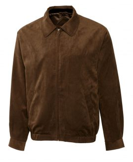 Cutter & Buck Men's Big and Tall Micro Suede City Bomber Brown