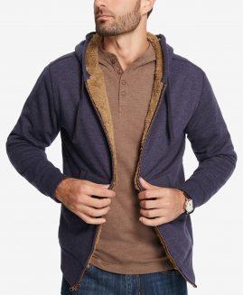 Weatherproof Vintage Men's Full Zip Fleece Lined Hoodie Dress Blue