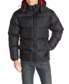 Avia Men's Puffer Jacket with Removable Hood, Black/Barn Red SIZE L