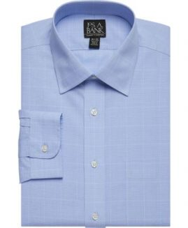 Traveler Collection Traditional Fit Spread Collar Glen Plaid Dress Shirt - Big & Tall JOS A BANK