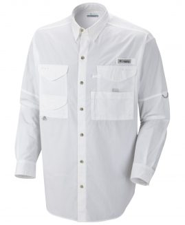 Columbia PFG Men's ajustable sleeve Fishing Shirt White