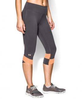 Under Armour fly by compression leggings capri grey with pink Size LG