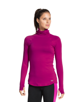 Under Armour Women's Qualifier T-Neck Long Sleeve Fuchsia Size LG