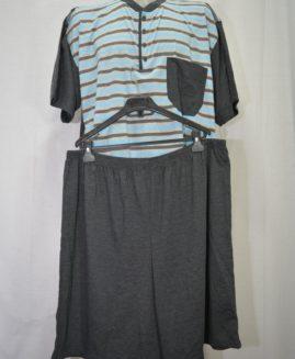 Pijama bumbac in 3 nasturi cu pantalon scurt 6 XL ALAMICUTZU