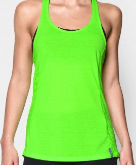 Under Armour Heat Gear Women's  Fly-By Stretch Mesh Tank Green Size LG
