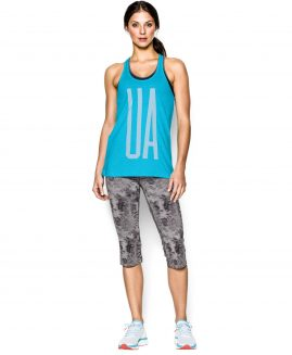 Under Armour Charged Cotton Tri-Blend  Tank Island Blue/White Size LG