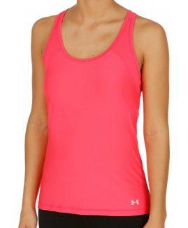 Under Armour HeatGear Alpha Womens Running Vest Tank Top - Pink Size LG