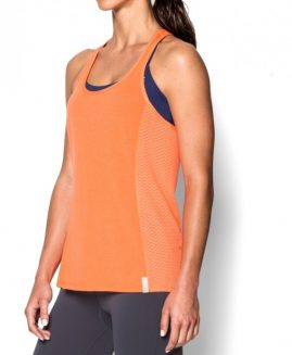 Under Armour Women's  Fly-By Stretch Mesh Tank Pink Size LG
