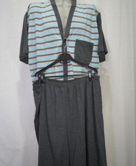 Pijama bumbac cu nasturi de sus pina jos si pantalon scurt 4 XL ALAMICUTZU