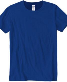 Tricou marime mare, bumbac softstyle, mineca scurta, Albastru, 2 XL  GILDAN USA