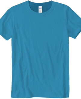 Tricou marime mare, bumbac softstyle, mineca scurta, Turcoaz, 2 XL GILDAN USA