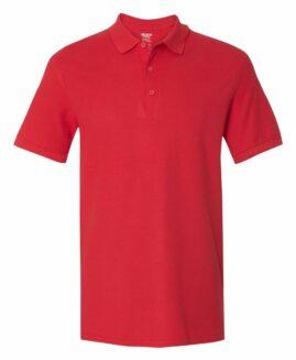 Tricou unisex, pique polo bumbac premium, Rosu 2 XL GILDAN USA