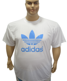 Tricou marime mare , bumbac mineca scurta , 5 xl american , alb , logo ADIDAS