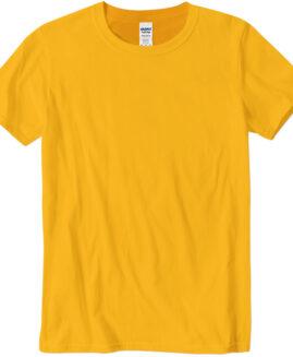 Tricou marime mare, bumbac softstyle, mineca scurta, Galben 2 XL  GILDAN USA
