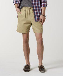 Pantalon scurt marime mare bumbac, talie elastica, xxxl american, Basic Editions crem