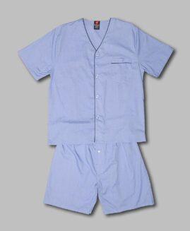 Pijama marime mare bumbac, scurta de vara, xxl american, HANES albastru deschis