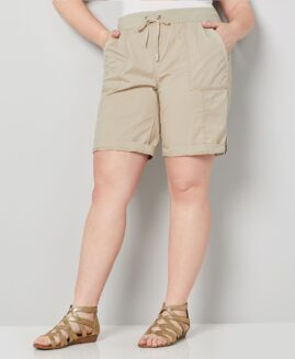 Pantalon marime mare, femei stretch scurt, marime xxl american, Basic editions crem