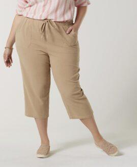 Pantalon femei marime mare, capri talie elastica cu snur, xxl american, BASIC EDITIONS crem