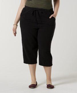 Pantalon femei marime mare, capri talie elastica cu snur, xxl american, BASIC EDITIONS negru