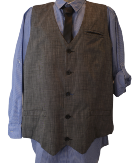 Set camasa ajustabila + vesta + cravata, xxxxl american, TRANQUILITY MAYHEM albastru