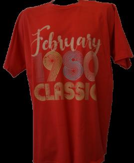 Tricou cu imprimeu marime mare, bumbac ring spun, xxl american, FEBRUARY 1980 CLASSIC