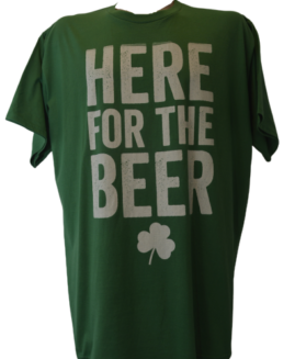 Tricou cu imprimeu marime mare, bumbac ring spun, xxl american, HERE FOR THE BEER