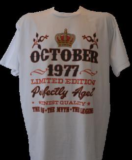 Tricou cu imprimeu marime mare, bumbac ring spun, xxxl american, OCTOBER 1977