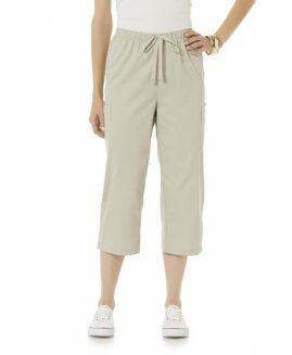 Pantalon marime mare, femei bermude bumbac, marime xxl american, BASIC EDITIONS bej