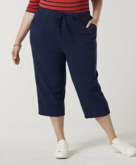 Pantalon femei marime mare, capri talie elastica cu snur, xxxxl american, BASIC EDITIONS navy