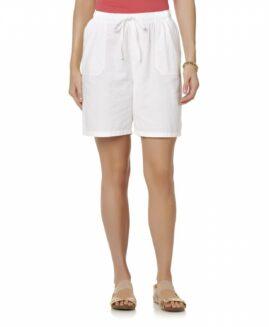 Pantalon marime mare, femei scurt bumbac, marime xxxxl american, BASIC EDITIONS alb