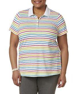 Tricou marime mare femei, bumbac polo pique, marime xxxxl american, BASIC EDITIONS multicolor