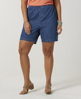 Pantalon marime mare, jeans scurt femei, marime xxxxl american, BASIC EDITIONS blue