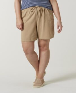 Pantalon marime mare, femei scurt bumbac, marime xxxxl american, BASIC EDITIONS crem