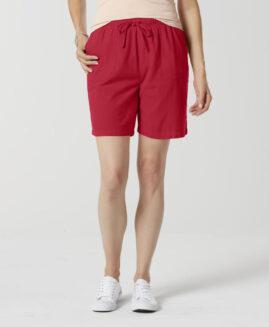 Pantalon marime mare, femei scurt bumbac, marime xxxxl american, BASIC EDITIONS rosu