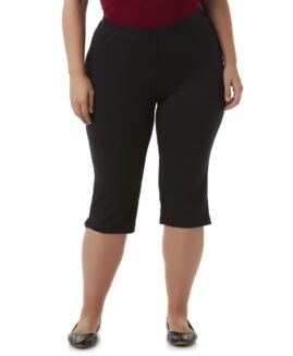 Pantalon stretch capri marime mare femei, marime americana xxxxl, Basic Editions Negru