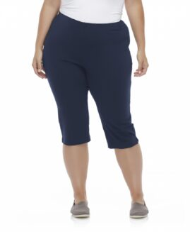 Pantalon stretch capri marime mare femei, marime americana xxxxl, Basic Editions Albastru