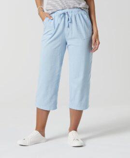 Pantalon femei marime mare, capri talie elastica cu snur, xxl american, BASIC EDITIONS albastru