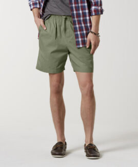 Pantalon scurt marime mare bumbac, talie elastica, xxxl american, Basic Editions kaki