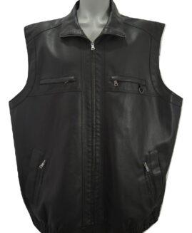 Vesta marime mare, piele ecologica, MEN PLUS 66 negru - talie 160 cm