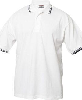 Tricou bumbac, 100% pique polo, xxl american, CLIQUE USA  alb cu dungi