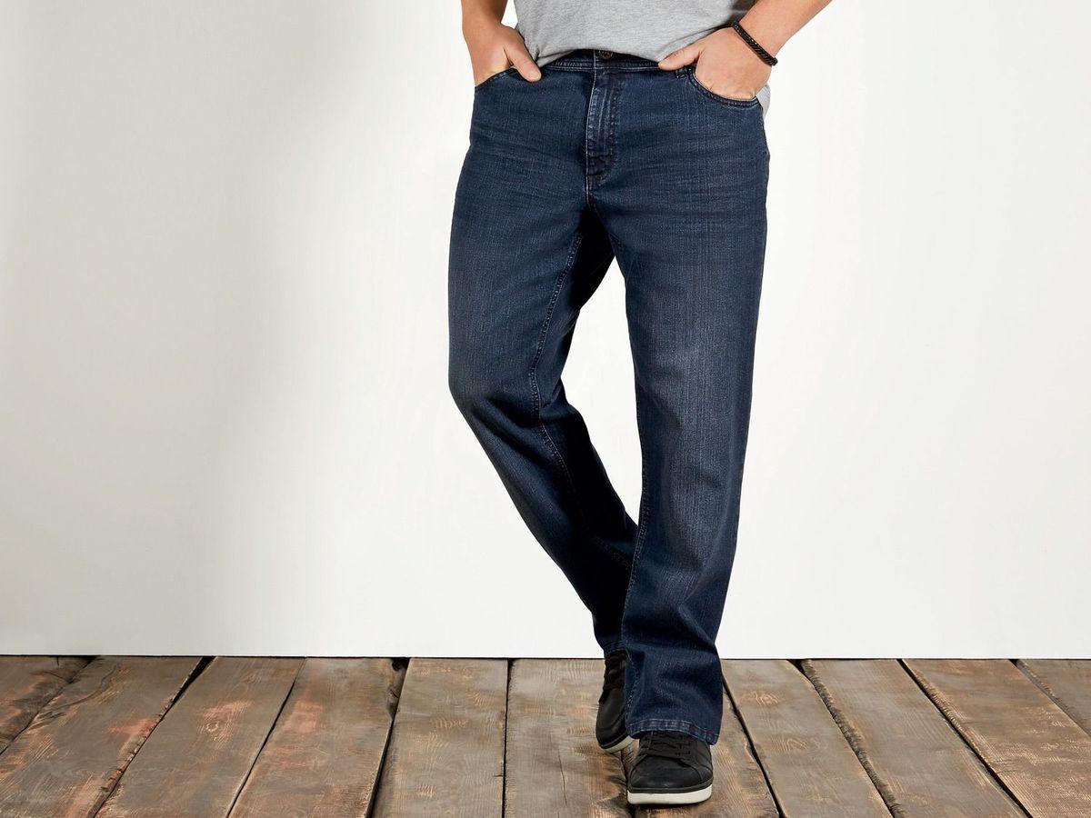 Pantalon jeans marime mare, talie joasa elastici, Livergy navy 62 - talie 120-130 cm
