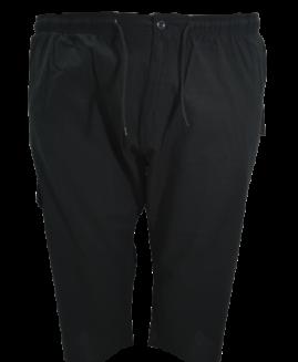 Pantalon subtire din in bermude cargo, 3 xl american, PLUS MENSWEAR talie 120-150 cm NEGRU