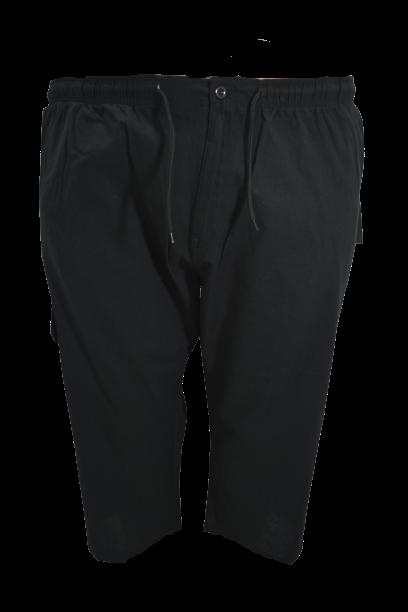 Pantalon subtire din in bermude cargo, 5 xl american, PLUS MENSWEAR talie 124-160 cm NEGRU