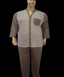 Pijama barbati marime mare bumbac, 6 xl american, Alamicutzu, model cu nasturi, talie 190 – 200 cm