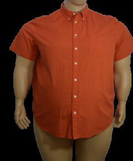 Camasa marime mare, bumbac mineca scurta, 5 xl american, ANGELO LITRICO portocaliu talie 180 cm