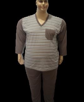 Pijama barbati marime mare bumbac, 5 xl american, Alamicutzu, model in anchior, talie 180 – 190 cm