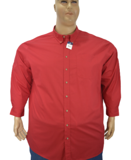 Camasa marime mare, casual mineca lunga, 5 xl american, HARBOR BAY rosu talie 190 cm