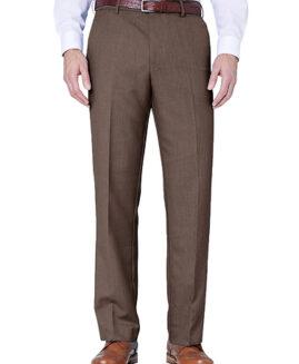 Pantalon elegant stofa subtire, marime mare 56 american, FARAH CLASSIC maro, talie 144 cm